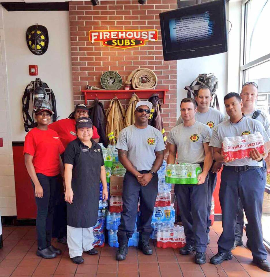 HFD RECEIVES WATER FROM FIRE HOUSE SUBS