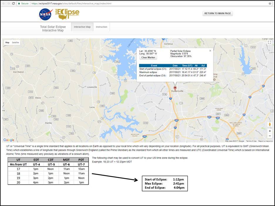 SOLAR ECLIPSE TIMING FOR HUNTERSVILLE