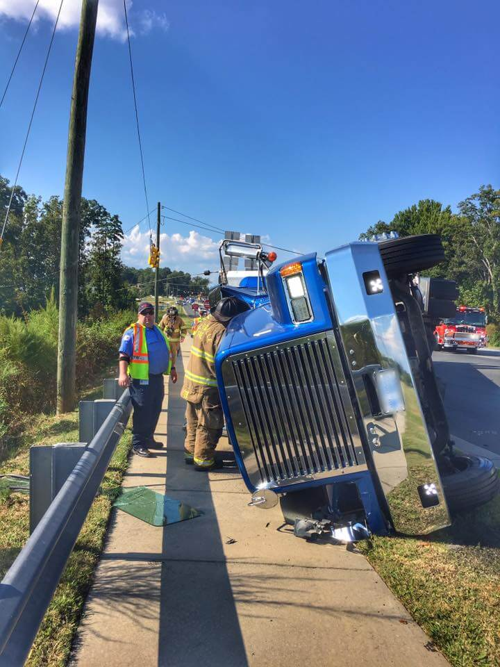 OVERTURNED TRACTOR TRAILER ON OLD STATESVILLE