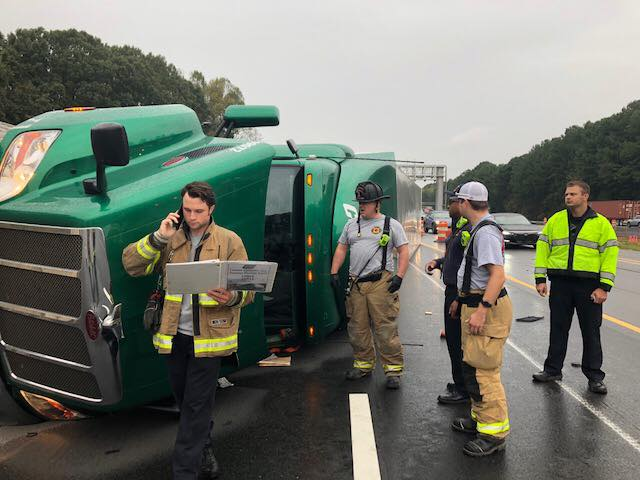 OVERTURNED TRACTOR TRAILER ON THE INTERSTATE