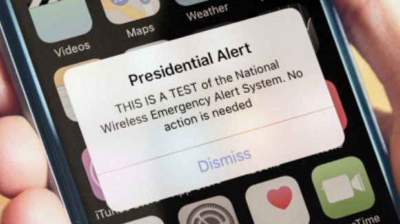 Nationwide test today of the Wireless Emergency Alert System