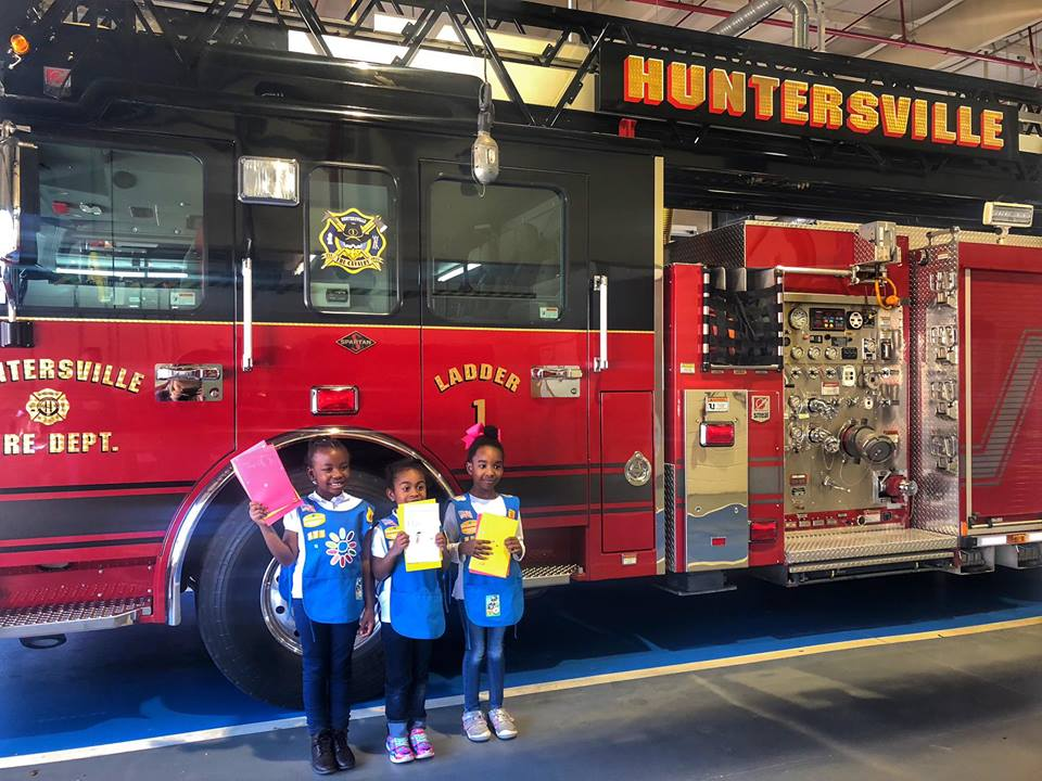 GIRL SCOUTS VISIT STATION 1