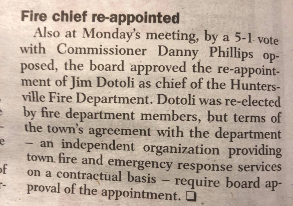 FIRE CHIEF REAPPOINTED BY TOWN